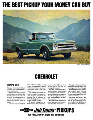 Made In The Usa Digital Art - 1968 Chevy 3/4 Ton Fleetside Pickup Truck by Digital Repro Depot