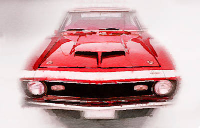Camaro Painting - 1968 Chevy Camaro Front End Watercolor by Naxart Studio