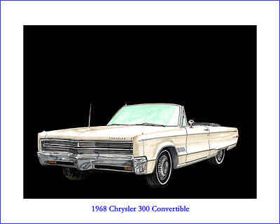 1968 Chrysler 300 Convertible Art Print by Jack Pumphrey
