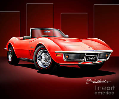 Automotive Art Drawing - 1968 Corvette 427 Roadster by Danny Whitfield
