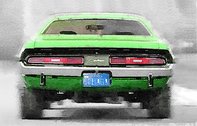 Challenger Painting - 1968 Dodge Challenger Rear Watercolor by Naxart Studio