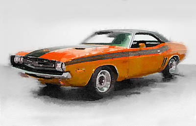 Challenger Painting - 1968 Dodge Challenger Watercolor by Naxart Studio