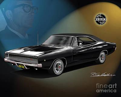 Steve Mcqueen Drawing - 1968 Dodge Charger Bullitt Featuring Bill Hickman  by Danny Whitfield