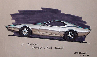 Muscle Cars Drawing - 1968 E-body Barracuda   Plymouth Vintage Styling Design Concept Rendering Sketch by John Samsen