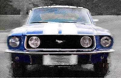 Old Cars Painting - 1968 Ford Mustang Front End Watercolor by Naxart Studio
