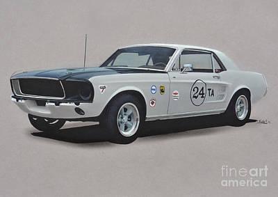 Cobra Drawing - 1968 Ford Mustang Race Car by Paul Kuras