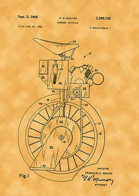 Photograph - 1968 Franklin S. Malick Powered Unicycle Patent by Michael Porchik