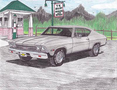 Street Rod Drawing - 1968 Malibu by Darrell Leonard