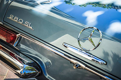 Photograph - 1968 Mercedes-benz 280 Sl Roadster Rear Emblem -0310c by Jill Reger