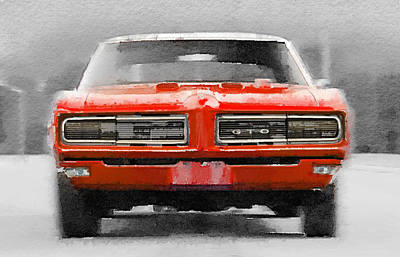 Vintage Mixed Media - 1968 Pontiac Gto Front Watercolor by Naxart Studio