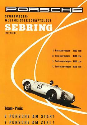 Trial Digital Art - 1968 Porsche Sebring Florida Poster by Georgia Fowler
