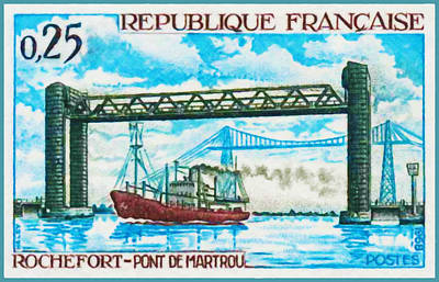Charente Maritime Painting - 1968 Rochefort - Martrou Bridge by Lanjee Chee