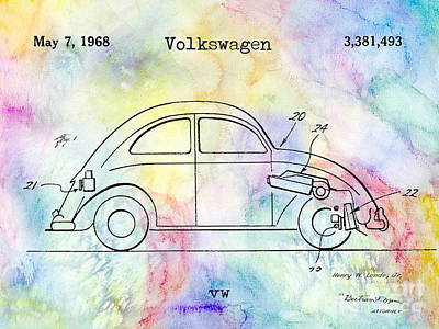 Psychedelic Photograph - 1968 Vw Patent Drawing by Jon Neidert