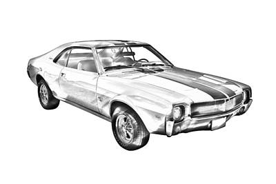Photograph - 1969 Amc Javlin Car Illustration by Keith Webber Jr
