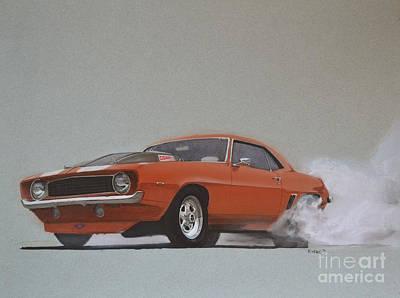 Drag Drawing - 1969 Camaro Prostreet by Paul Kuras