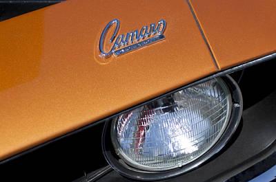 Photograph - 1969 Chevrolet Camaro Headlight Emblem by Jill Reger