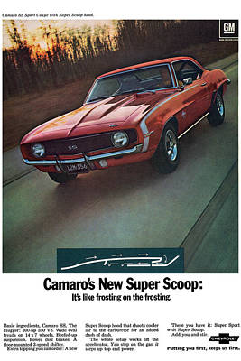 Indy Car Digital Art - 1969 Chevrolet Camaro New Super Scoop by Digital Repro Depot