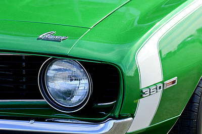 Photograph - 1969 Chevrolet Camaro Ss Headlight Emblems by Jill Reger