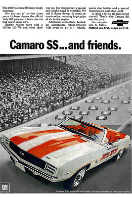 Indy Car Digital Art - 1969 Chevrolet Camaro Ss Indy 500 Pace Car Ad by Digital Repro Depot