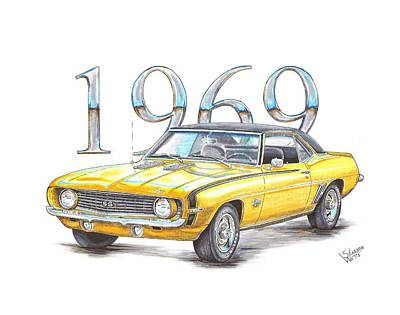 Chevy Drawing - 1969 Chevrolet Camaro Super Sport by Shannon Watts