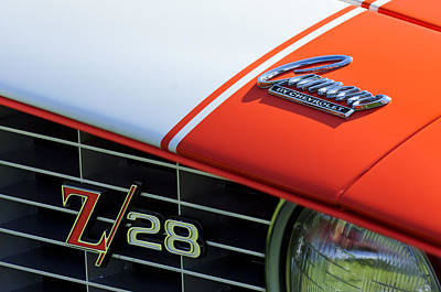 Muscle Car Photograph - 1969 Chevrolet Camaro Z-28 Emblem by Jill Reger