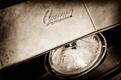 1959 Chevrolet Photograph - 1969 Chevrolet Camero Head Light Emblem by Jill Reger