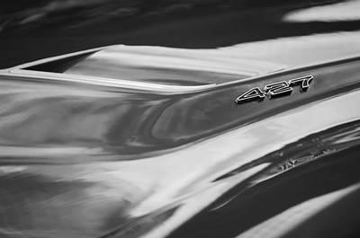 1969 Chevrolet Corvette Roadster 427 Hood Emblem -0654bw Art Print
