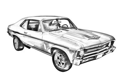 1969 Chevrolet Nova Yenko 427 Muscle Car Illustration Art Print