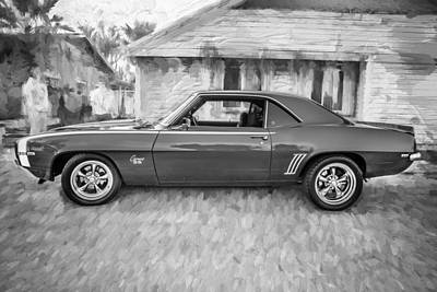 Chevrolet Camaro 396 Photograph - 1969 Chevy Camaro Rs 396 Painted Bw by Rich Franco