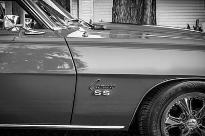 Chevrolet Camaro 396 Photograph - 1969 Chevy Camaro Ss 396 Painted Bw by Rich Franco