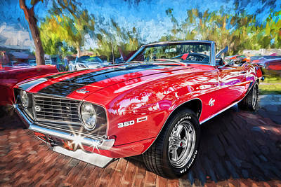Red Camaro Photograph - 1969 Chevy Camaro Ss Painted  by Rich Franco