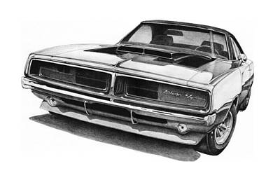 Chargers Drawing - 1969 Dodge Charger R/t by Nick Toth