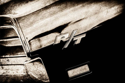 1969 Dodge Charger Photograph - 1969 Dodge Charger Rt Rear Emblem -0541s by Jill Reger