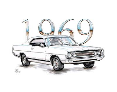 Cobra Drawing - 1969 Ford Fairlane - Torino Cobra by Shannon Watts
