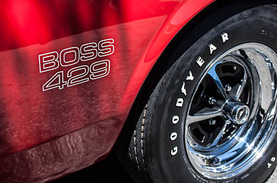 1969 Ford Mustang Boss 429 Sportsroof Side Emblem - Wheel Art Print by Jill Reger