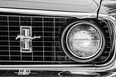 1969 Ford Mustang Mach 1 Grille Emblem Art Print by Jill Reger
