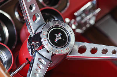 Muscle Cars Photograph - 1969 Ford Mustang Mach 1 Steering Wheel by Jill Reger
