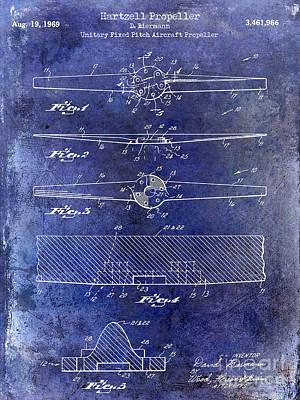 1969 Hartzell Propeller Patent Blue Art Print by Jon Neidert