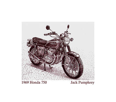 Drawing - 1969 Honda 750 by Jack Pumphrey
