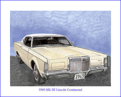 Painting - 1969 Lincoln M K  I I I Continental by Jack Pumphrey