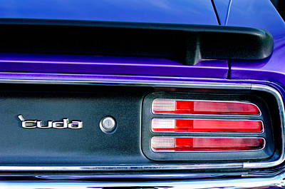 Plymouth Cuda Photograph - 1969 Plymouth Barracuda - Cuda Emblem - Taillight by Jill Reger