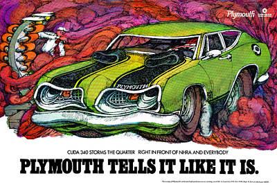 Advertisement Digital Art - 1969 Plymouth 'cuda 340 by Digital Repro Depot