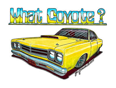Roadrunner Drawing - 1969 Plymouth Roadrunner by Jon Richards