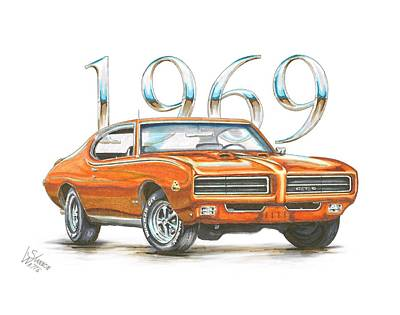 Muscle Cars Drawing - 1969 Pontiac Gto Judge by Shannon Watts