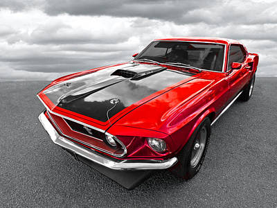 1969 Red 428 Mach 1 Cobra Jet Mustang Art Print by Gill Billington