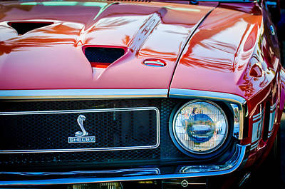 Photograph - 1969 Shelby Cobra Gt500 Front End - Grille Emblem -0202c by Jill Reger