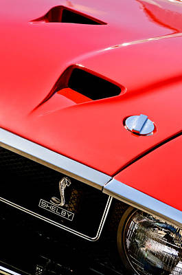 Photograph - 1969 Shelby Gt500 Convertible 428 Cobra Jet Hood - Grille Emblem by Jill Reger