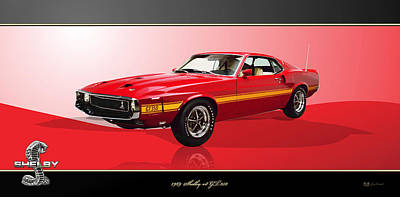 Digital Art - 1969 Shelby V8 Gt350 On Red And Black by Serge Averbukh