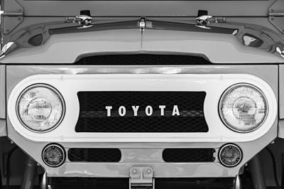 Photograph - 1969 Toyota Fj-40 Land Cruiser Grille Emblem -0444bw by Jill Reger