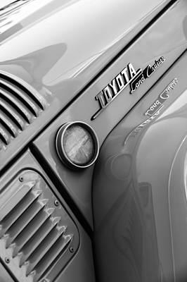 Photograph - 1969 Toyota Fj-40 Land Cruiser Side Emblem -0423bw by Jill Reger